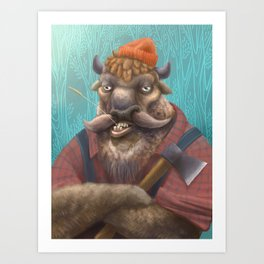 Bison Lumberjack Art Print