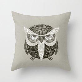 Wise Old Owl Says Throw Pillow