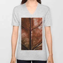 MACHO MANS ART OLD LEATHERY BROWN LEAF Unisex V-Neck