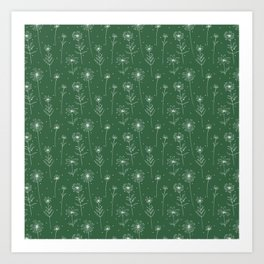 Daisies pattern in green field Art Print