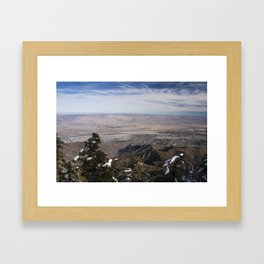 Palm Springs and Coachella Valley from Mount San Jacinto in the snow Framed Art Print