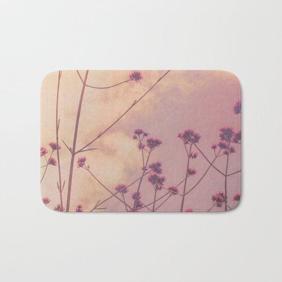 Vintage Pink Wildflowers with Dusty Purple Sky Background Bath Mat