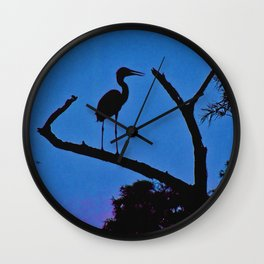 Wood Stork at Sunset Wall Clock