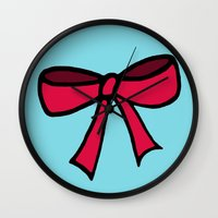 bow Wall Clocks featuring Bow by Cam Mac