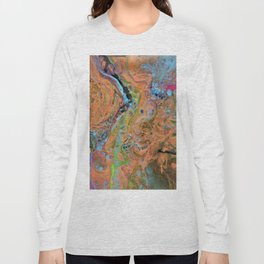 Fluid Copper - Abstract, original, fluid, acrylic painting Long Sleeve T-shirt