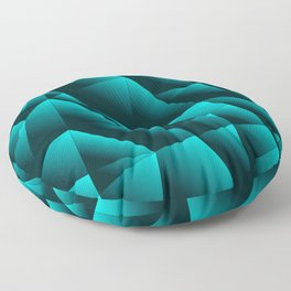 Dark overlapping sheets of light blue paper triangles. Floor Pillow