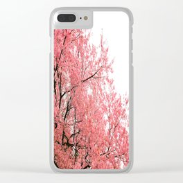 Coral Pink Flowers  Clear iPhone Case