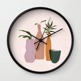 Feminine Abstract Vases II Wall Clock