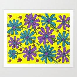 Cosmos and Ladybugs on Yellow Art Print