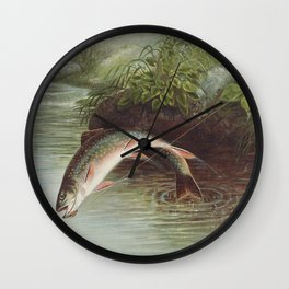 Leaping Brook Trout Wall Clock