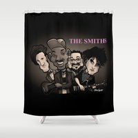 the smiths Shower Curtains featuring The Smiths (black version) by BinaryGod.com