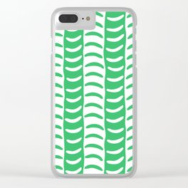 Wavy Stripes Green Clear iPhone Case