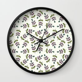 Hand drawn leaves pattern Wall Clock