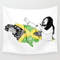 marley Wall Tapestries featuring Jamaica -  Freedom Time by Art & Be