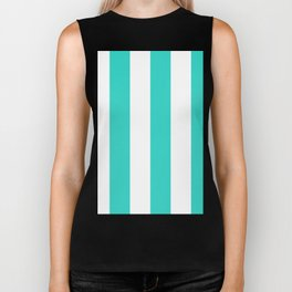 Wide Vertical Stripes - White and Turquoise Biker Tank