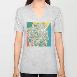 San Francisco Map Art Unisex V-Neck