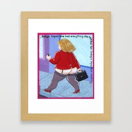 Robyn hoped she had everything she needed for today's important meeting Framed Art Print