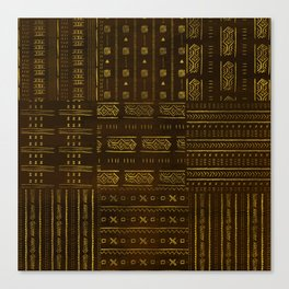 Gold African Tribal Pattern on rich brown texture Canvas Print