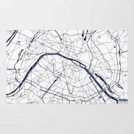 Paris France Minimal Street Map - Navy Blue and White Rug