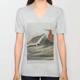 Pigmy curlew from Birds of America (1827) by John James Audubon etched by William Home Lizars Unisex V-Neck