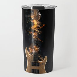 Flaming electric guitar Travel Mug