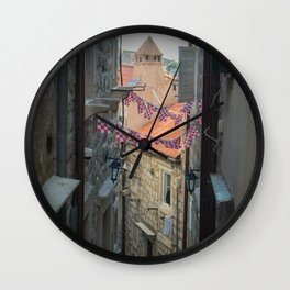 Old streets of old city in south of Croatia, Dubrovnik Wall Clock