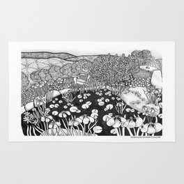 Zentangle Vermont Landscape Black and White Illustration Rug