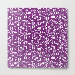 Purple Floral Pattern Metal Print