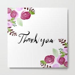 Thank you floral design Metal Print