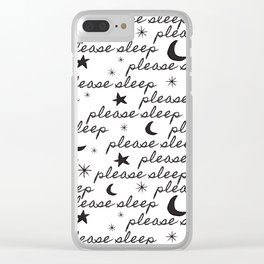 Please Sleep in Black + White Clear iPhone Case
