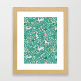 Spring Pattern of Bunnies with Turtles Framed Art Print
