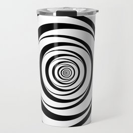 Black White Circles Optical Illusion Travel Mug