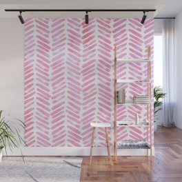 Handpainted Chevron pattern - pink and pink ;) Wall Mural