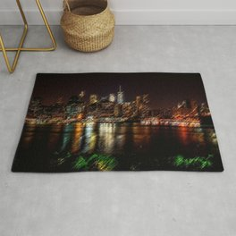 Manhattan City Lights Night Scene Landscape Painting by Jeanpaul Ferro Rug