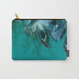 DREAMY FEATHERS & LEAVES - Deep Cyan Carry-All Pouch