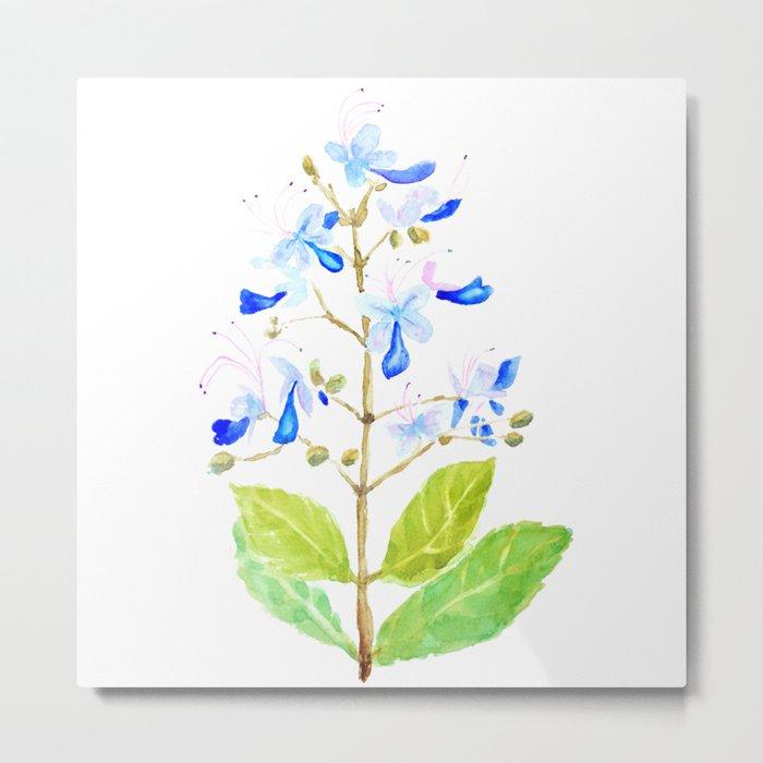 blue butterfly flowers watercolor Metal Print