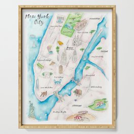New York City Watercolor Map Serving Tray