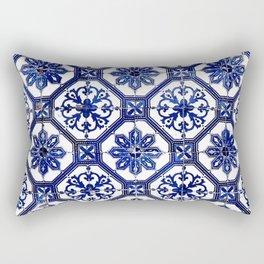 Blue and White Portuguese Tile - Rectangular Pillow
