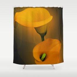 Calla Lily Warm Yellow Mist Background Shower Curtain