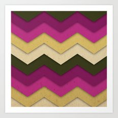 Flower Field Chevron Art Print
