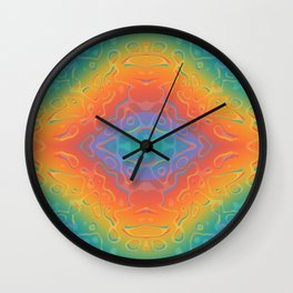 Colorful Liquid Holographic Pattern Abstract Rainbow Waves Wall Clock