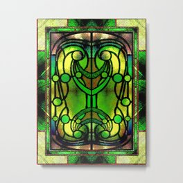 Green and Gold Stained Glass Victorian Design Metal Print