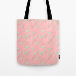 Abstract blush coral turquoise geometric 80's pattern Tote Bag