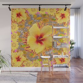 Golden Yellow Red Tropical Hibiscus Patterns Wall Mural