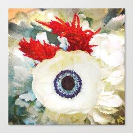 Altered White Anemone Canvas Print