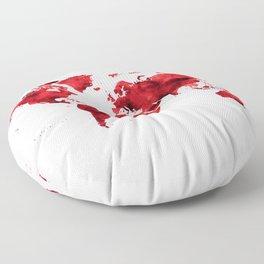 World Map Red Paint Floor Pillow