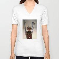 gladiator V-neck T-shirts featuring Gladiator 'Cracalla the Gladiator' LEGO Custom Minifigure by Chillee Wilson by Chillee Wilson [Customize My Minifig]