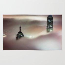 Hong Kong Skyscrapers in the Fog Rug