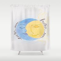 sun and moon Shower Curtains featuring Brother Sun Sister Moon by Hayley Lang