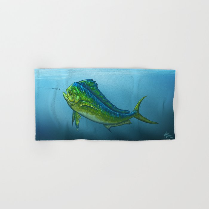 """El Dorado"" by Amber Marine ~ Mahi Mahi / Dolphin Fish Art, (Copyright 2015) Hand & Bath Towel"